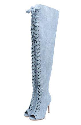 Ботфорты Marie из денима на шнуровке | Фото №1