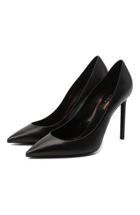 Женская кожаные туфли anja SAINT LAURENT черного цвета, арт. 471988/AKP00 | Фото 1