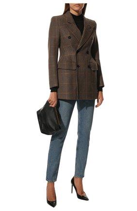Женские кожаные туфли anja SAINT LAURENT черного цвета, арт. 471988/AKP00 | Фото 2 (Подошва: Плоская; Материал внутренний: Натуральная кожа; Каблук высота: Высокий; Каблук тип: Шпилька)