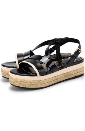 Кожаные сандалии на джутовой подошве | Фото №1