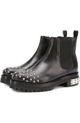 Кожаные ботинки с заклепками | Фото №1