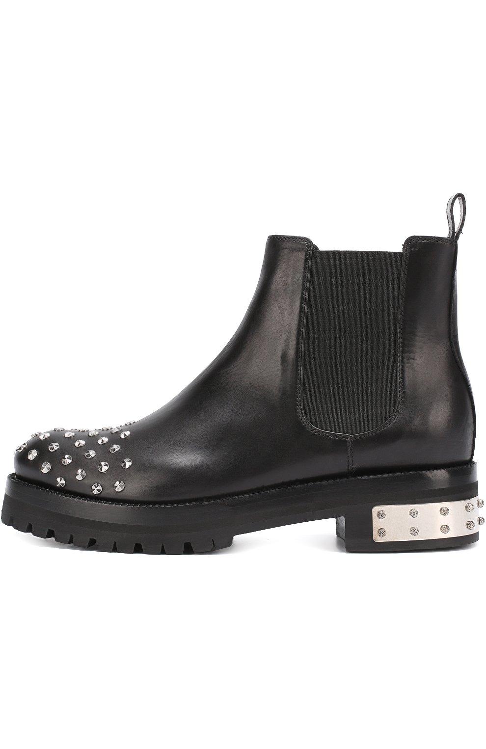Кожаные ботинки с заклепками | Фото №2