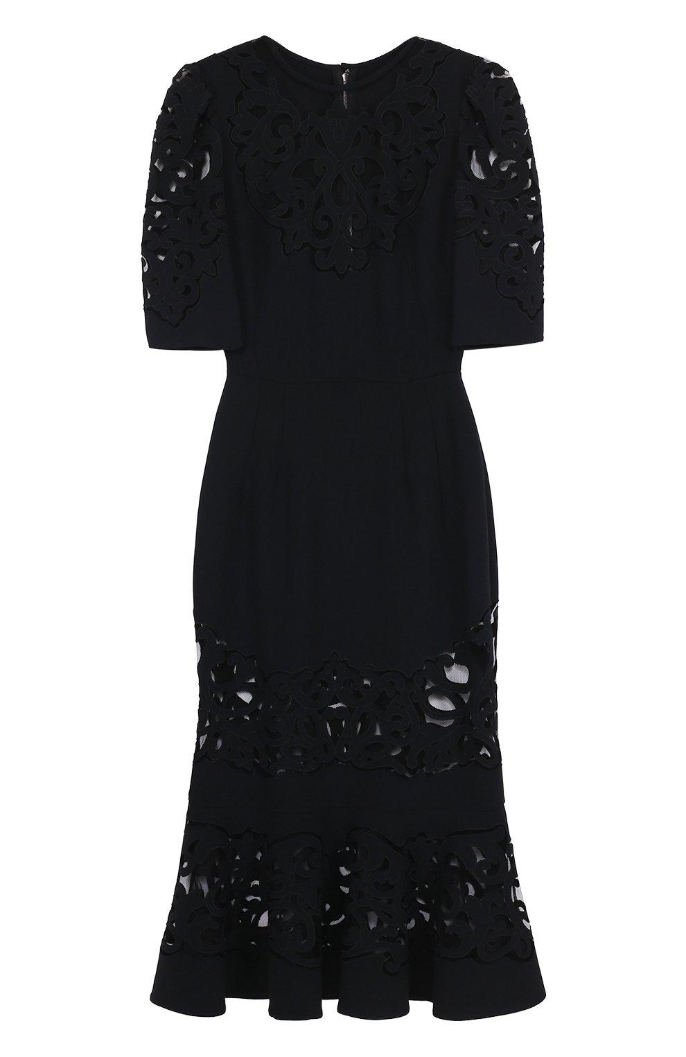 Приталенное платье с юбкой годе с полупрозрачными вставками | Фото №1