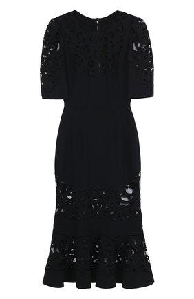 Приталенное платье с юбкой годе с полупрозрачными вставками Dolce & Gabbana черное | Фото №1
