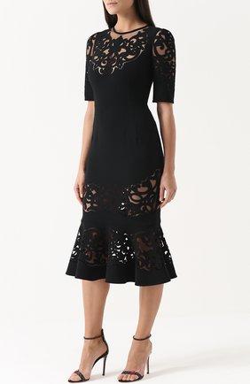 Приталенное платье с юбкой годе с полупрозрачными вставками Dolce & Gabbana черное | Фото №3