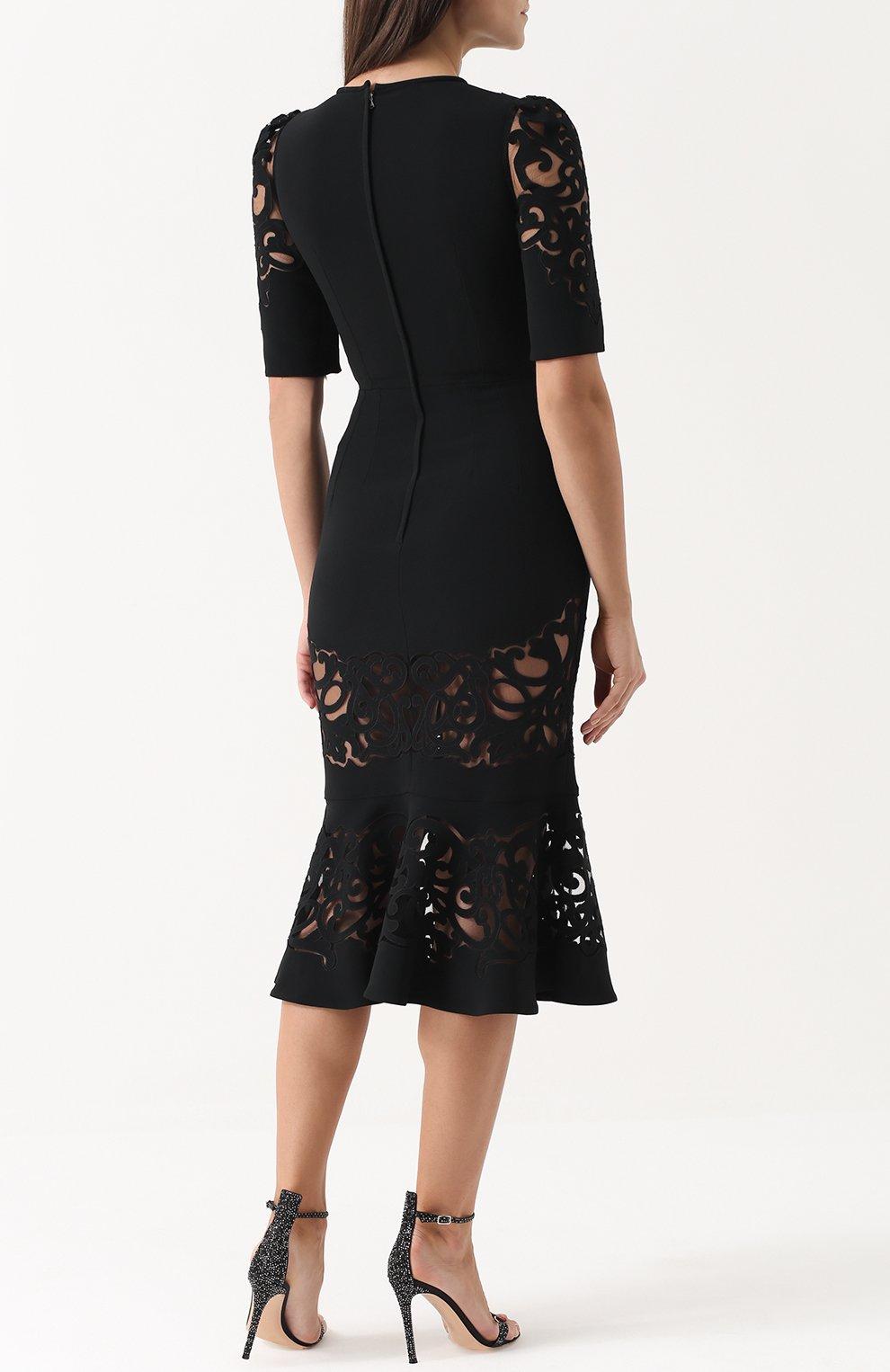 Приталенное платье с юбкой годе с полупрозрачными вставками Dolce & Gabbana черное | Фото №4