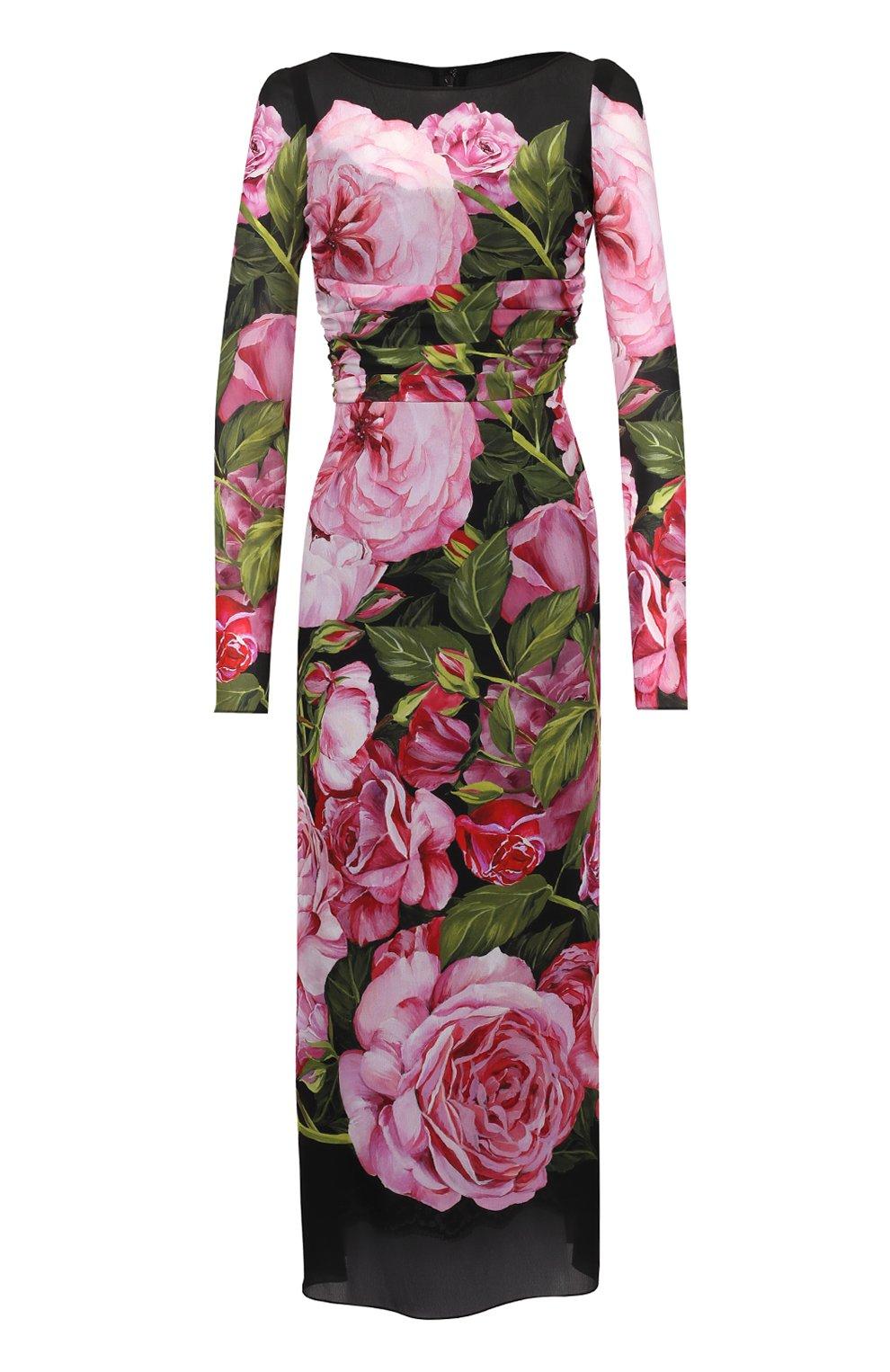 Шелковое платье-миди с юбкой годе и цветочным принтом | Фото №1