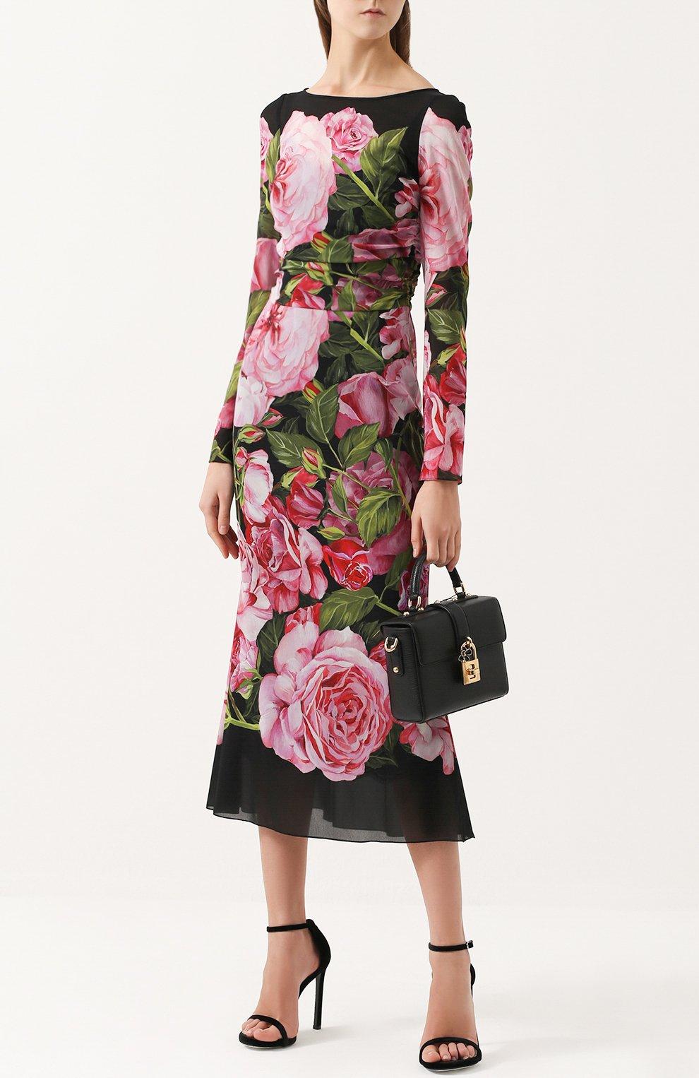 Шелковое платье-миди с юбкой годе и цветочным принтом | Фото №2