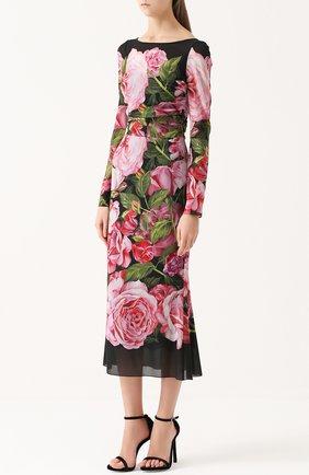 Шелковое платье-миди с юбкой годе и цветочным принтом | Фото №3