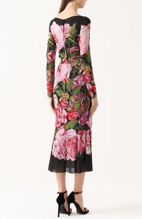 Шелковое платье-миди с юбкой годе и цветочным принтом | Фото №4
