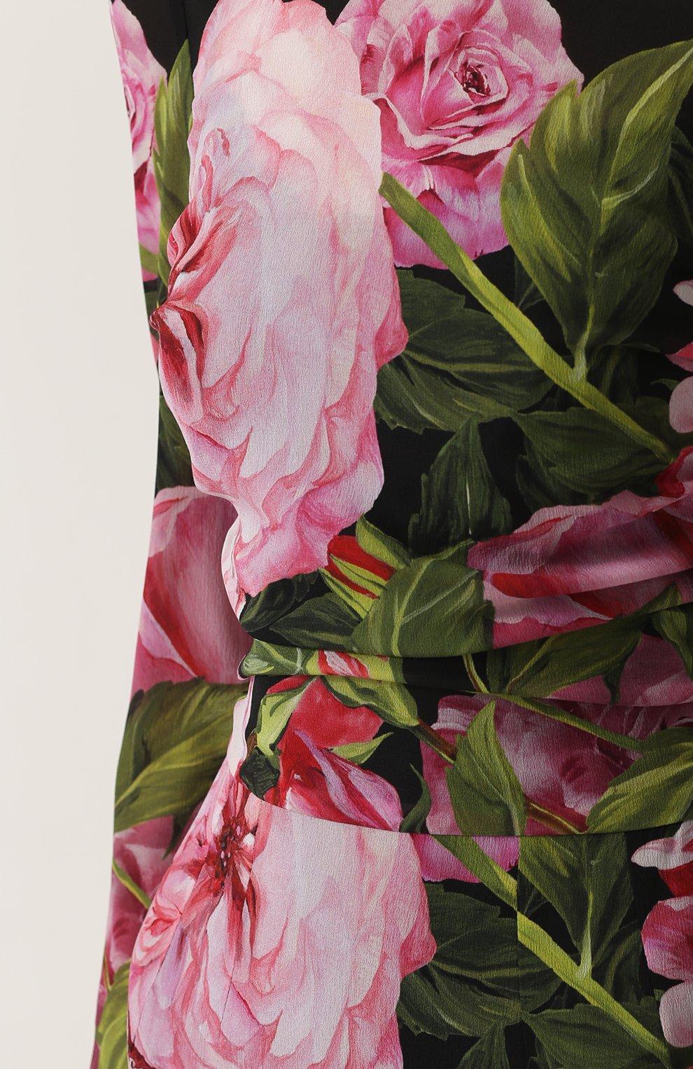 Шелковое платье-миди с юбкой годе и цветочным принтом | Фото №5