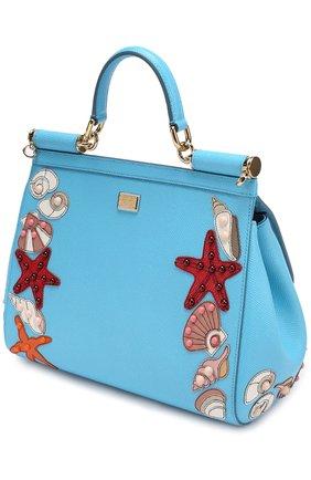 Сумка  Sicily medium с аппликацией Marina Dolce & Gabbana голубая цвета | Фото №2
