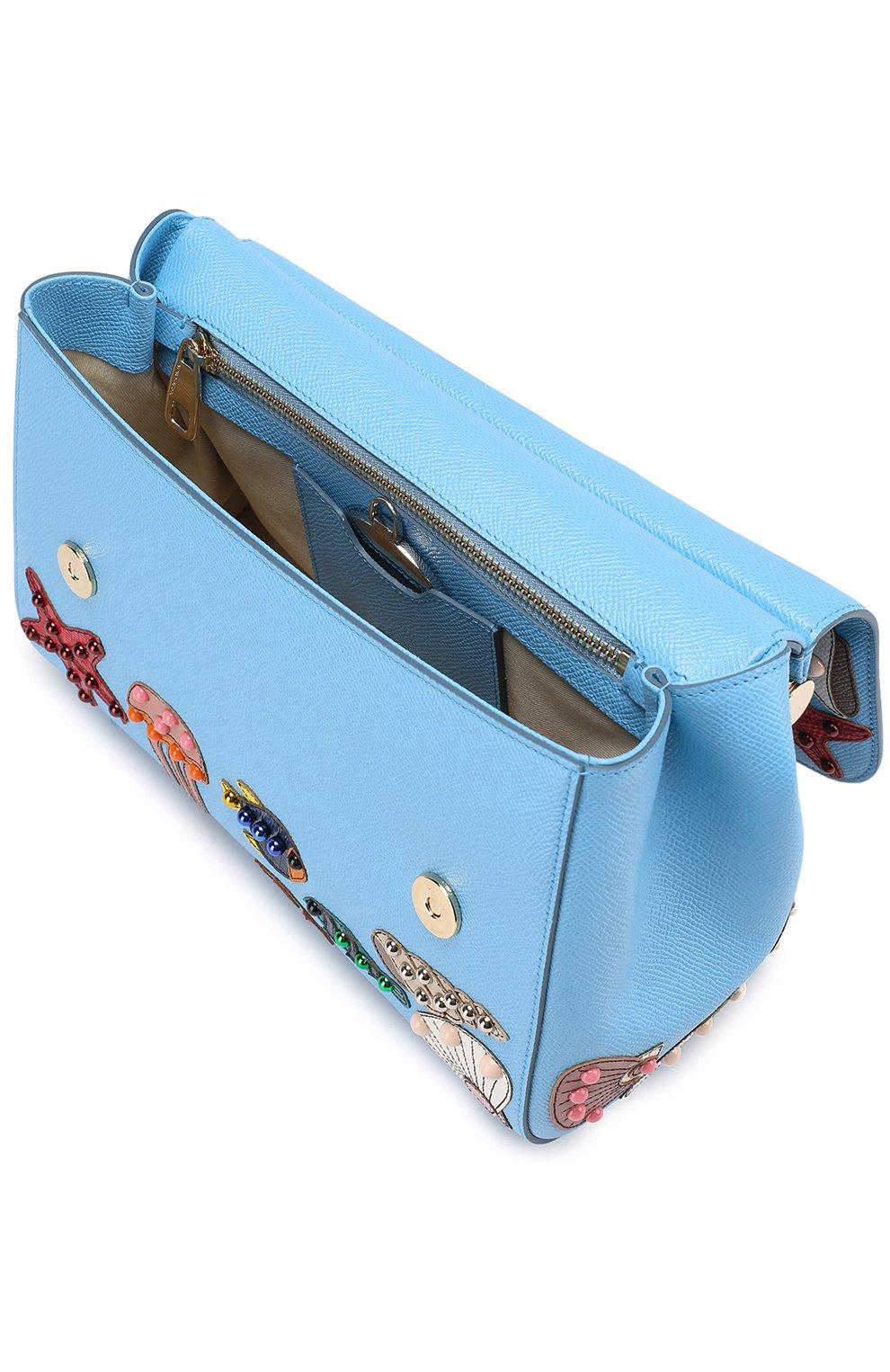 Сумка  Sicily medium с аппликацией Marina Dolce & Gabbana голубая цвета | Фото №3
