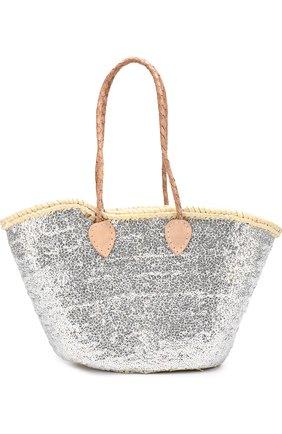Плетеная сумка с вышивкой пайетками | Фото №1