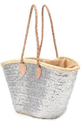 Плетеная сумка с вышивкой пайетками Etincelles серебряного цвета | Фото №1