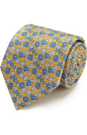 Мужской шелковый галстук с узором KITON желтого цвета, арт. KA/C03E51 | Фото 1