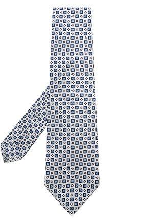 Мужской шелковый галстук с узором KITON белого цвета, арт. KA/C03E77 | Фото 2