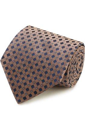 Мужской шелковый галстук с узором KITON коричневого цвета, арт. KA/C04E03 | Фото 1