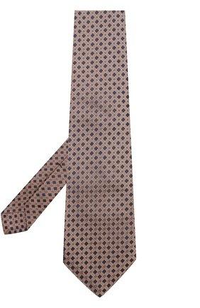 Мужской шелковый галстук с узором KITON коричневого цвета, арт. KA/C04E03 | Фото 2