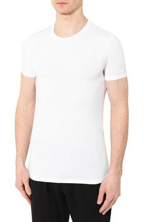 Мужская футболка ERMENEGILDO ZEGNA белого цвета, арт. N2M200020   Фото 3 (Кросс-КТ: домашняя одежда; Рукава: Короткие; Материал внешний: Синтетический материал; Длина (для топов): Стандартные; Мужское Кросс-КТ: Футболка-белье; Статус проверки: Проверена категория)