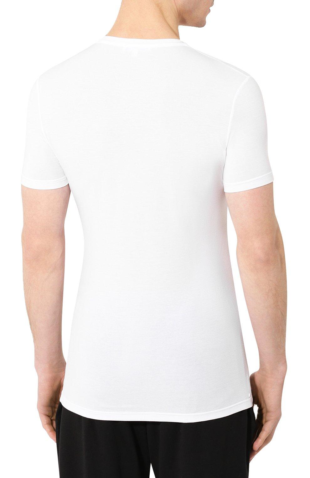 Мужская футболка ERMENEGILDO ZEGNA белого цвета, арт. N2M200020   Фото 4 (Кросс-КТ: домашняя одежда; Рукава: Короткие; Материал внешний: Синтетический материал; Длина (для топов): Стандартные; Мужское Кросс-КТ: Футболка-белье; Статус проверки: Проверена категория)