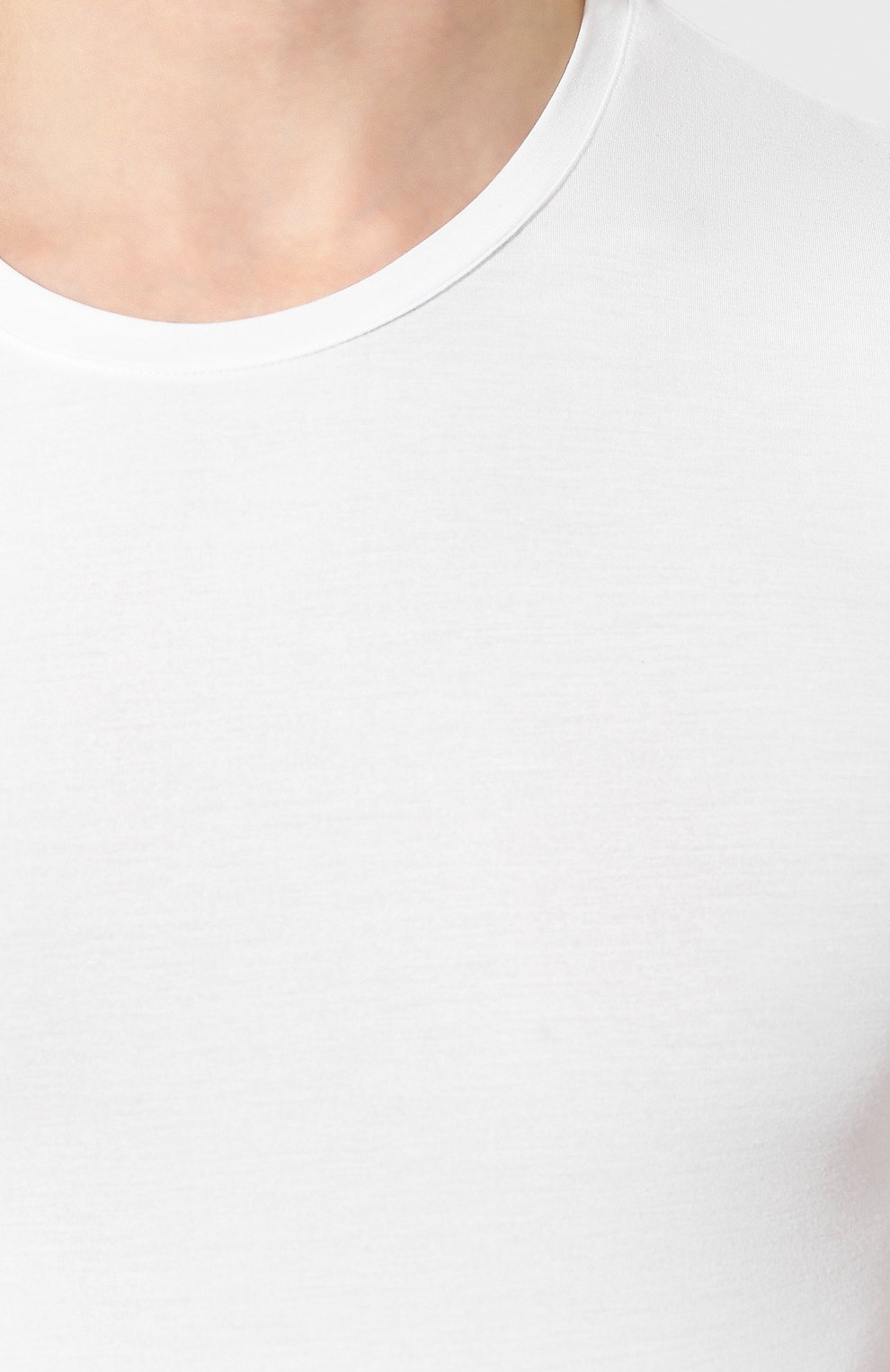 Мужская футболка ERMENEGILDO ZEGNA белого цвета, арт. N2M200020   Фото 5 (Кросс-КТ: домашняя одежда; Рукава: Короткие; Материал внешний: Синтетический материал; Длина (для топов): Стандартные; Мужское Кросс-КТ: Футболка-белье; Статус проверки: Проверена категория)