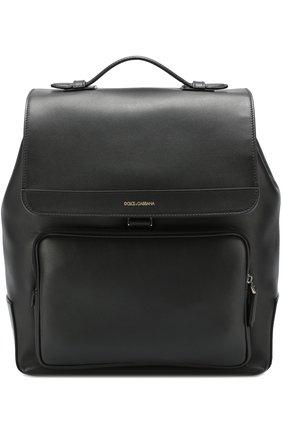 Кожаный рюкзак Mediterraneo с клапаном и внешним карманом на молнии Dolce & Gabbana черный | Фото №1
