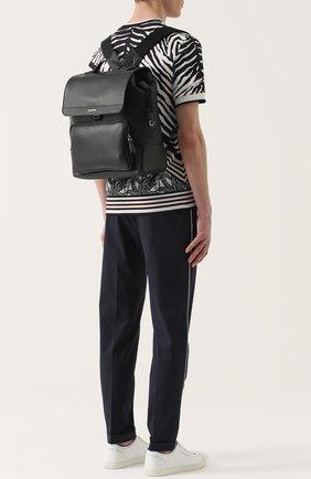 Кожаный рюкзак Mediterraneo с клапаном и внешним карманом на молнии Dolce & Gabbana черный | Фото №2