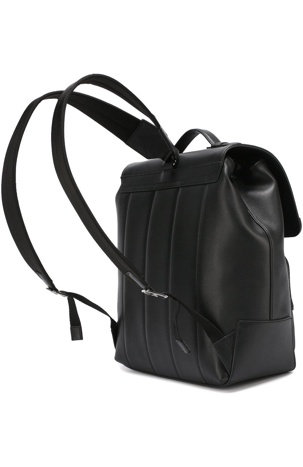 Кожаный рюкзак Mediterraneo с клапаном и внешним карманом на молнии Dolce & Gabbana черный | Фото №3