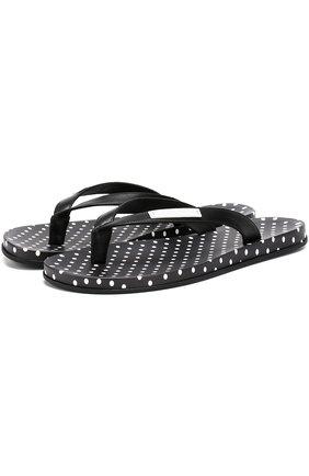 Резиновые шлепанцы с принтом Polka dot Dolce & Gabbana черно-белые   Фото №1