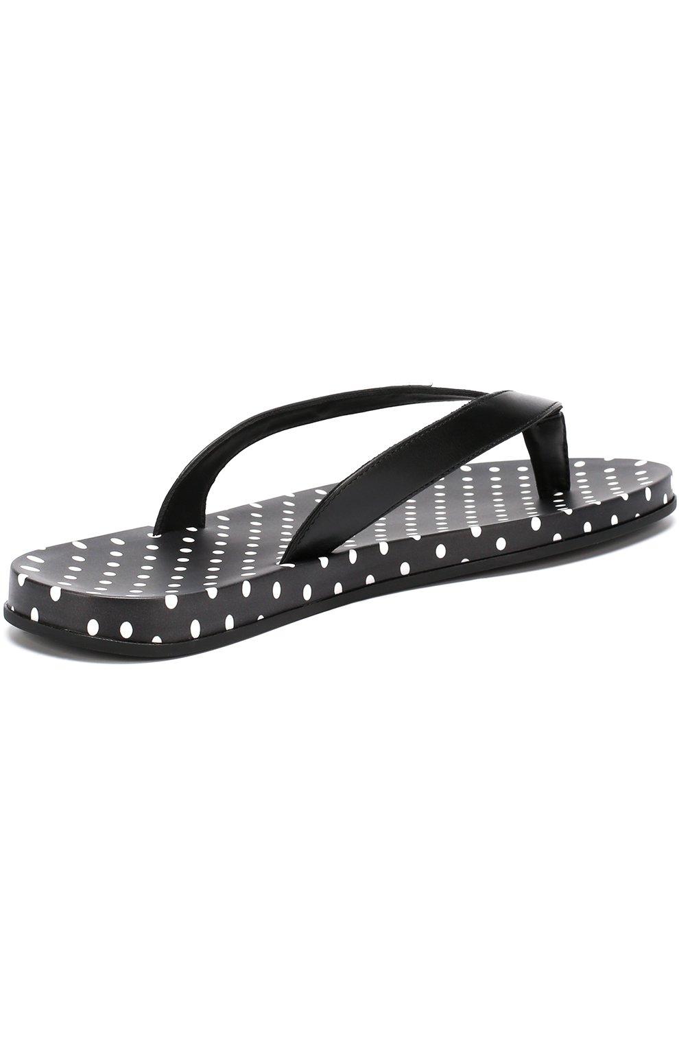 Резиновые шлепанцы с принтом Polka dot Dolce & Gabbana черно-белые   Фото №3
