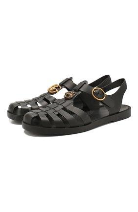 Мужские резиновые сандалии GUCCI черного цвета, арт. 463463/J8700 | Фото 1