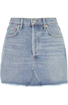 Джинсовая мини-юбка с необработанным краем