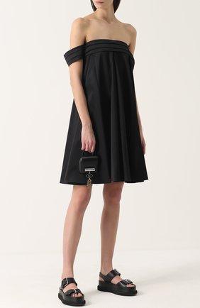 Платье свободного кроя с открытыми плечами Edit черное | Фото №1