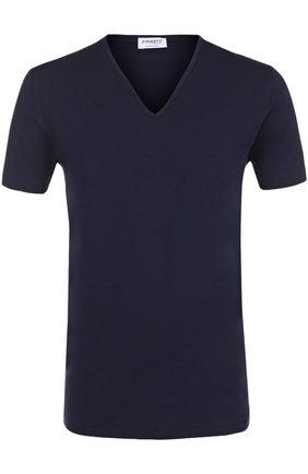 Мужская хлопковая футболка с v-образным вырезом ZIMMERLI темно-синего цвета, арт. 172/1462 | Фото 1