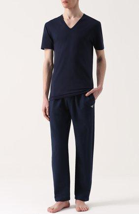 Мужская хлопковая футболка с v-образным вырезом ZIMMERLI темно-синего цвета, арт. 172/1462 | Фото 2
