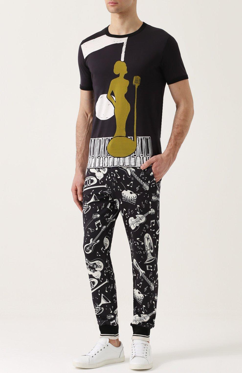 Хлопковая футболка с принтом Dolce & Gabbana черная | Фото №2