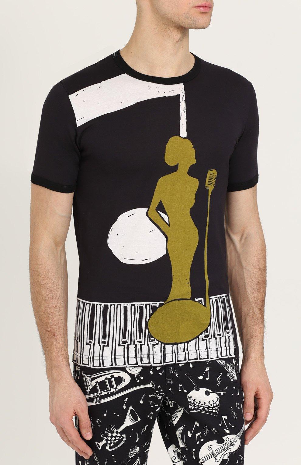Хлопковая футболка с принтом Dolce & Gabbana черная | Фото №3