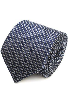 Мужской шелковый галстук с узором LANVIN темно-синего цвета, арт. 2278/TIE   Фото 1