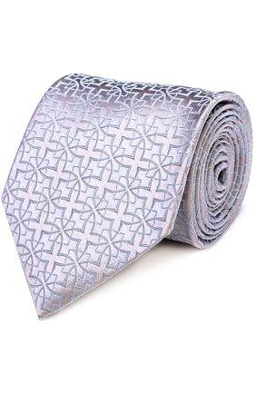 Шелковый галстук с узором Charvet серебряного цвета | Фото №1