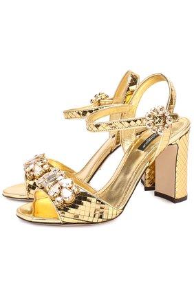 Босоножки Keira из фактурной кожи с кристаллами Dolce & Gabbana золотые | Фото №1
