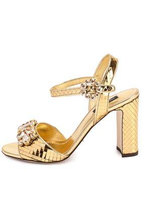 Босоножки Keira из фактурной кожи с кристаллами Dolce & Gabbana золотые | Фото №2