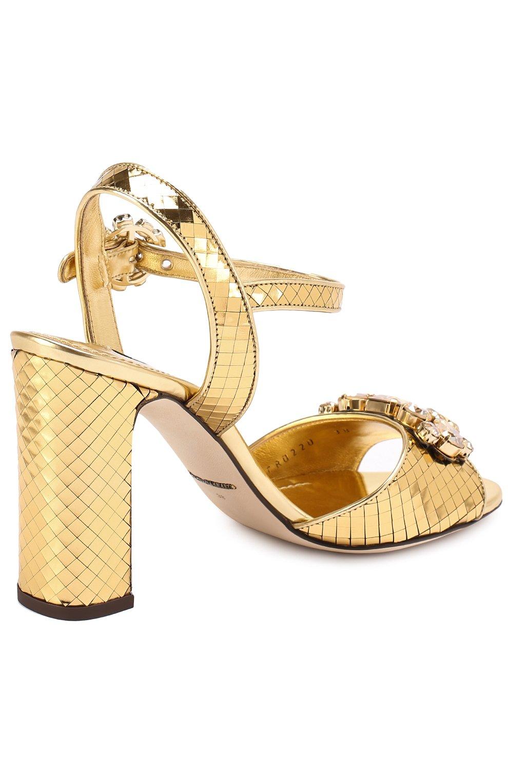 Босоножки Keira из фактурной кожи с кристаллами Dolce & Gabbana золотые | Фото №3