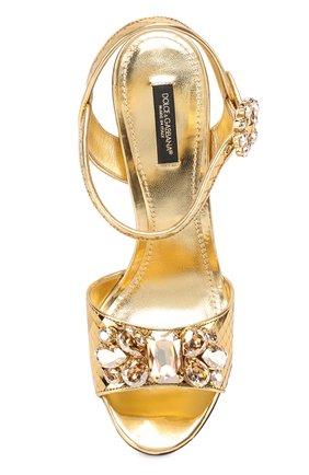 Босоножки Keira из фактурной кожи с кристаллами Dolce & Gabbana золотые | Фото №4