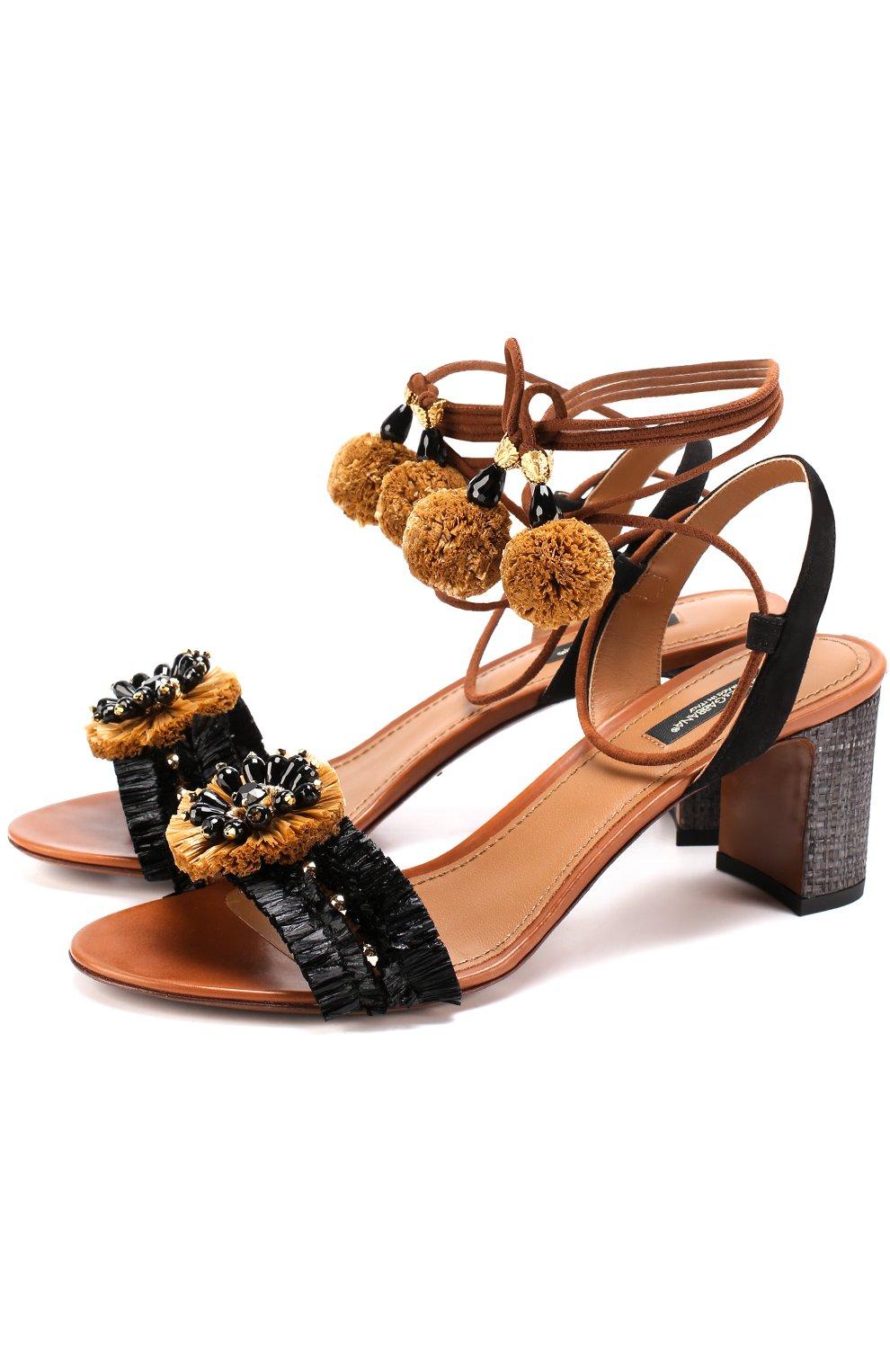 Комбинированные босоножки с декором на устойчивом каблуке   Фото №1