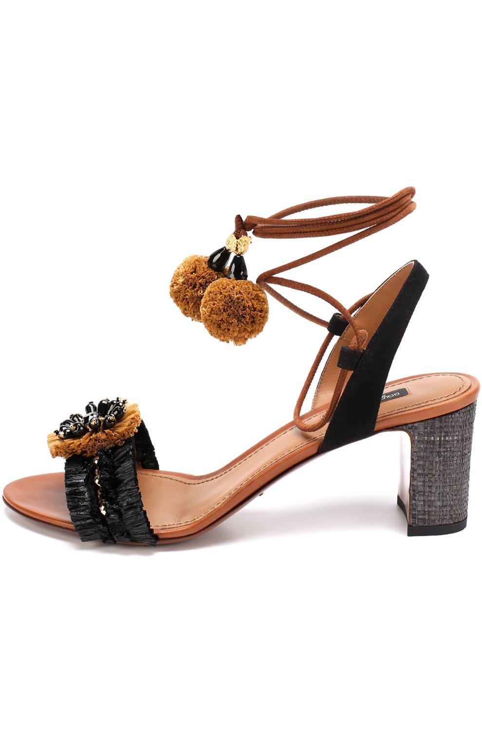 Комбинированные босоножки с декором на устойчивом каблуке Dolce & Gabbana черные   Фото №2