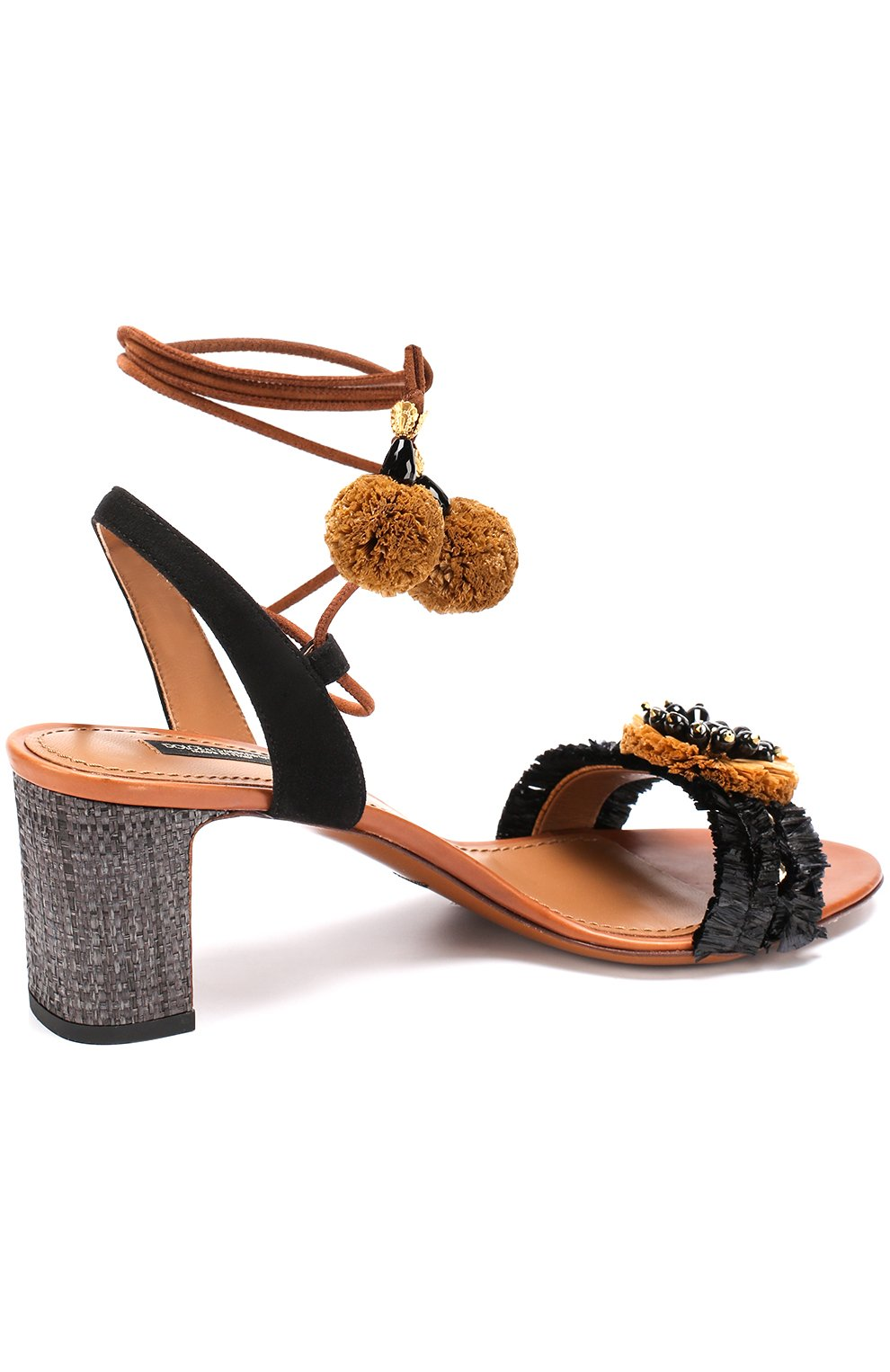 Комбинированные босоножки с декором на устойчивом каблуке Dolce & Gabbana черные   Фото №3