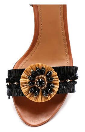 Комбинированные босоножки с декором на устойчивом каблуке Dolce & Gabbana черные   Фото №4