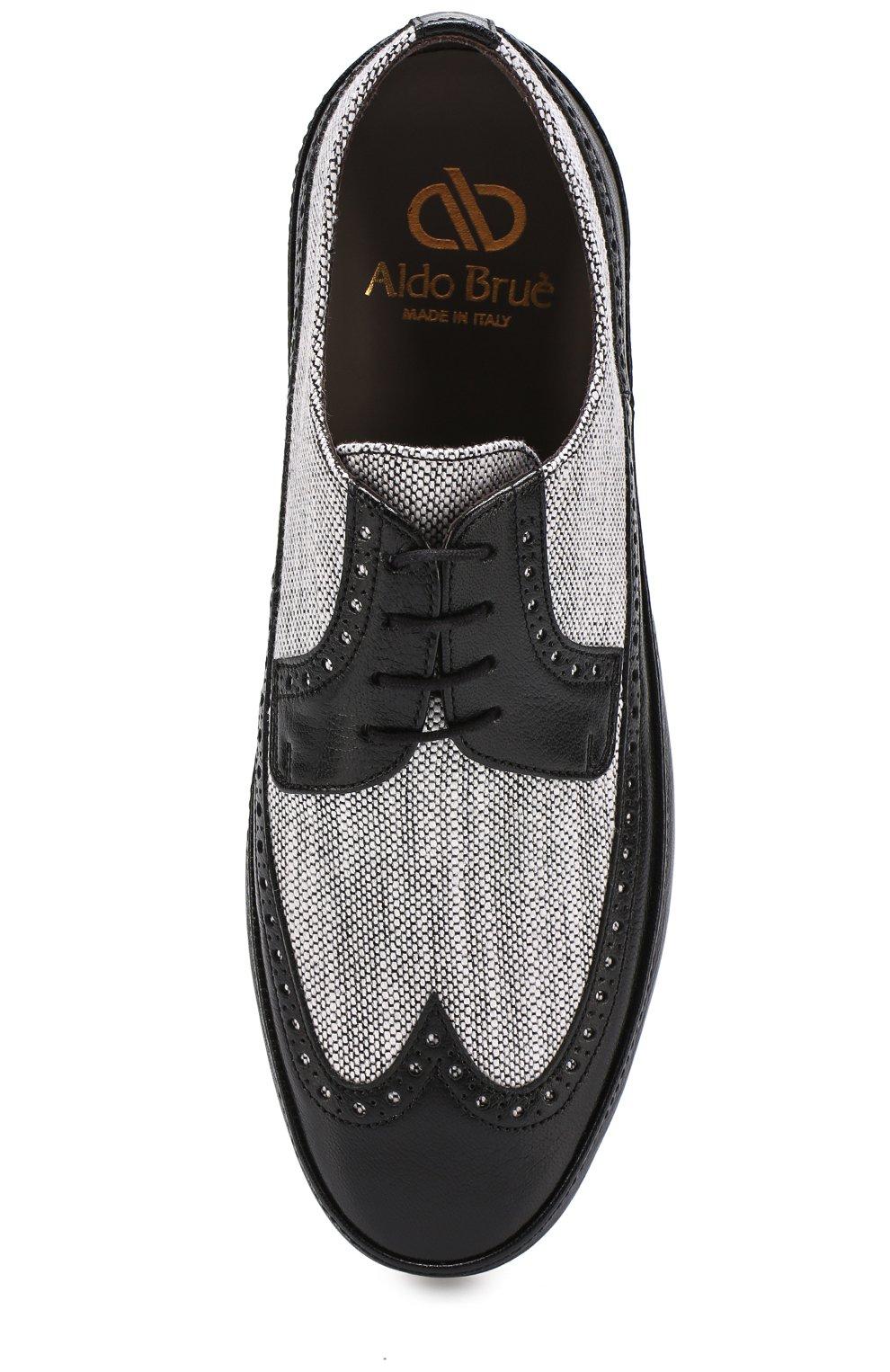 8a6aa1ee2 Кожаные дерби с брогированием и текстильной отделкой Aldo Brue черные | Фото  №4