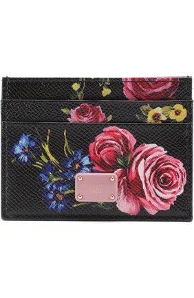 Кожаный футляр для кредитных карт с принтом Dolce & Gabbana черного цвета | Фото №1